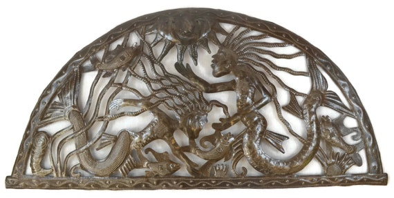 """Arch of the Sea, Haiti Steel Drum Art, Wall Metal Sculptures Home Decor 34"""" X 17.5"""""""