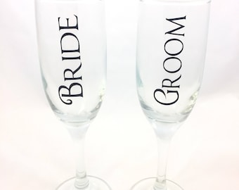 Bride and Groom Champagne Glasses, Bride and Groom Champagne Flutes, Bride and Groom, Wedding Glasses, Wedding Flutes, Toasting Glasses