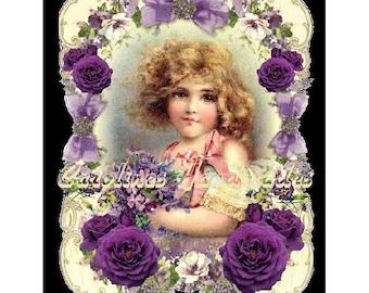 "Purple Flower Girl Collage Cotton Fabric Quilt Block (1) @ 5X7"" on 8.5X11"" Sheet"