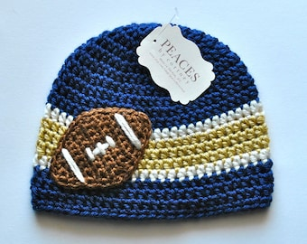 Newborn Football Hat - Navy Blue, White, and Gold Football Hat