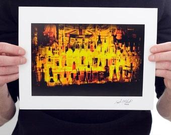 Bottles of Booze Bar Photograph (9 x 6 inch Fine Art Print)  Bar Home Decor