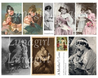 Vintage MOTHERS digital collage sheet, vintage images women babies children, VICTORIAN Mother's Day cards art ephemera altered art DOWNLOAD