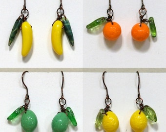 Fruit Earrings Antiqued Copper, Orange, Lemon, Lime, Banana