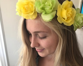 Floral Headband / Festival Yellow and Green