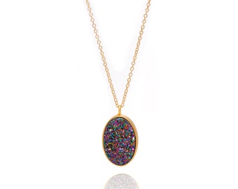 Druzy Necklace - Large Druzy Pendant Necklace - Peacock Druzy in Gold Necklace - Big Druzy Chain Necklace - Oval Druzy