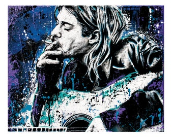 "18"" x 12"" Print - Kurt Cobain - Nirvana - Poster art print music rock grunge 90s"