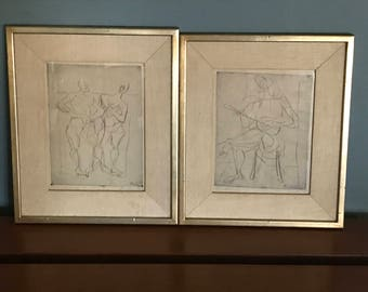 Pair Abstract Figural Etchings by Eduard Bargheer, Germany c.1948