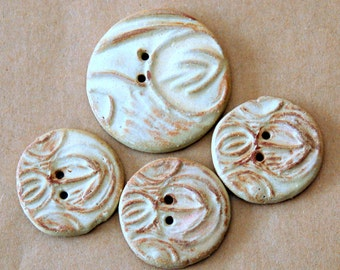 4 Big and Bold Handmade Ceramic Rustic Arrow Buttons - Tribal Design in Rustic Rust Stoneware - Focal Buttons - Artisan Buttons Sale buttons