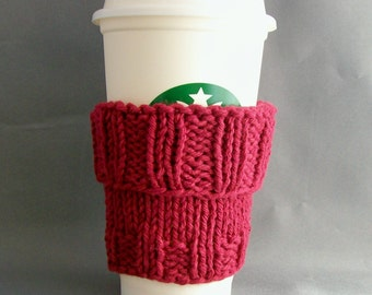 Burgandy Coffee Cup Sleeve with Bonus Handmade by me Muslin Drawstring Bag Cotton Knit Eco Vegan Friendly Gift under 20