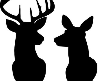 Deer and Doe Together Stencil Made from 4 Ply Mat Board-Choose a Size-From 5x7 to 24x36