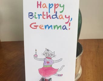 Birthday Letter with Figurine and Horoscope. Personalized Cat Birthday Card with Horoscope. Veronica the Cat Birthday Card with Figurine