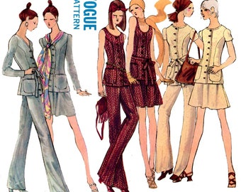 Vogue 7748 Womens 70s Capsule Wardrobe Top Skirt Pants & Jacket Vintage Sewing Pattern Size 10 Bust 32 1/2 inches