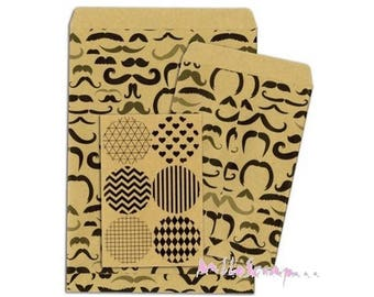 Set of 6 decorative envelopes, paper bag kraft BO BUNNY scrap 4 (ref.210) *.