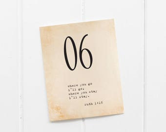 Printable Table Numbers - Easy Cutting Guide - Numbers 1-30 Included - Soft Vintage with bible quote