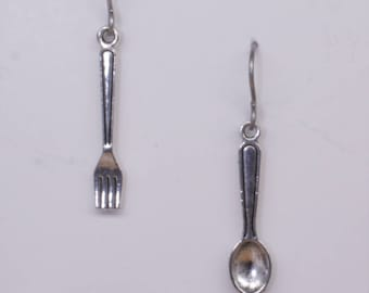 Tiny silver plated fork and spoon earrings on hypoallergenic surgical steel ear wires