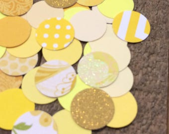 Yellow Wedding Confetti Mix / Table Decor / Yellow Circle Theme Table Scatter / Hand Punched / 200 Pieces