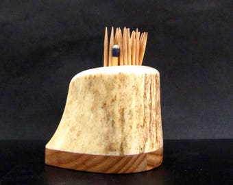 Nice Elk Antler Toothpick Holder, Match Stick Holder,Ash Wood Base, TP-45