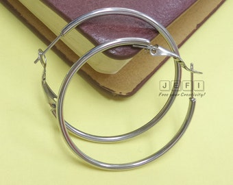 10 Stainless Steel Round Tube Earring Hoops W/ Hook 20mm/ 30mm/ 40mm/ 50mm/ 60mm/ 70mm Wholesale Earrings