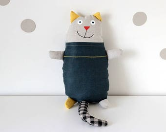 Stuffed animal toy, Plush cat toy, Cat Softie, Cat Pillow, Cat lover gift, Linen toy, Handmade Kitten, Kids Cat Doll, Cat Gift, Soft toy
