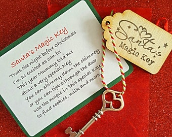 Santas Magic Key - Christmas Keepsake - Kids Christmas Eve Box - Unique Christmas Gift - Kids Magic Key - Handmade Stocking Filler