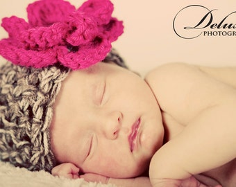 The Emma Beanie in Taupe Mist and Raspberry Available in Newborn to 12 Months Size- MADE TO ORDER