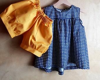 Kawai set Blouse and short pants, summer matching outfit Italian fashion, organic cotton set blue shirt jellow shorts handmade in Italy