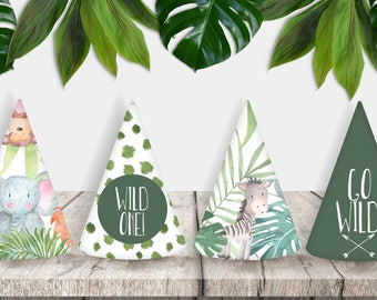 WILD ONE Jungle Printable Party Hats