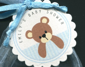 Personalized Baby Shower Favor Tags, teddy with blue stripes, set of 25