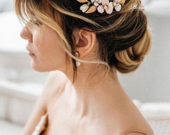 Wedding  Headpiece, Floral Bridal Headpiece, Bridal Hair piece, Wedding Hair Accessories, Gold Leaf Headpiece, Wedding Hair Accessory-BELLA2