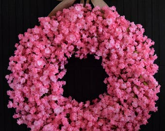"Light Pink Ruffle Flower Spring and Summer Front Door Wreath - 24"" Diameter"