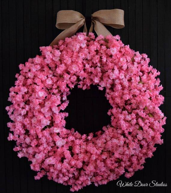 Light Pink Ruffle Flower Spring and Summer Front Door Wreath