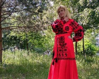 Red Boho Women Dress Linen Dress with Geometric Ukrainian Vyshyvanka Maxi Dress Ukrainian Style Chic Ethnic dress Modern Folk Embroidery