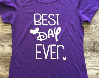 Women's Short Sleeve Disney Best Day Ever Mickey T Shirt Red Black Teen Tween Girls Juniors Adult White Purple Pink TSLM