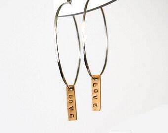 Sterling Silver Hoop Earrings  Mixed Metal Silver Hoop Earrings  Love Charm Earrings   Love Message Jewelry