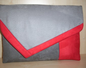 Extra large light grey, dark grey and red faux suede clutch bag