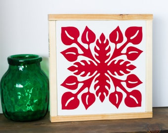 Anthurium Wall Art - Hawaiian Quilt - Anthurium Painting - Red and White - Home Decor