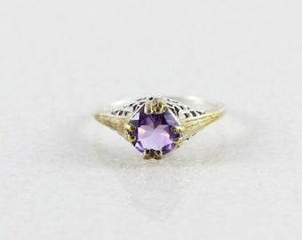 Sterling Silver Purple Amethyst Filigree Ring size 6 1/2