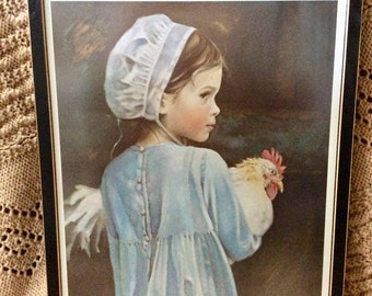 Nancy Noel signed embossed stamp certification Amish girl with chicken.