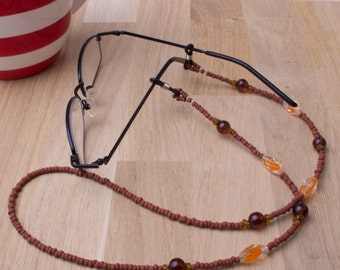 Glasses chain - Orange and Brown bead spectacle chain | Sunglasses holder | Eyeglasses cord | Beaded glasses chain | Eyeglass necklace