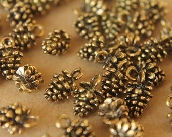 CLOSEOUT - 50 pc. Antique Gold Pine Cone Charms, 9mm x 14mm | MIS-042