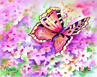 8x10 Watercolor of Butterfly Flying Over a Flower Garden by Colorado Artist Martha Kisling
