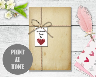 Printable Handmade From The Heart Tag - Digital Download PDF - Instant Download - DIY Tag Template - Handmade Gift Tag - KS112