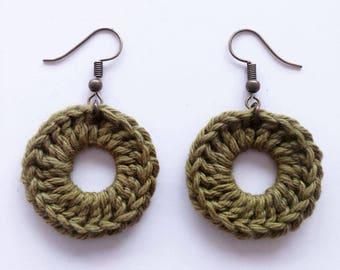 """Boucles d'oreilles Rondes """"Aztèque"""", Handmade Earrings, Crochet Fibres Coton, Fait Main, Miss Fanfreluche"""