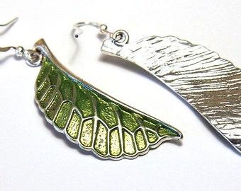 Statement Jewelry Gardening Gift Green Leaf Earrings Nature Earrings Simple Modern Jewelry Bronze or Silver Woodland Earrings