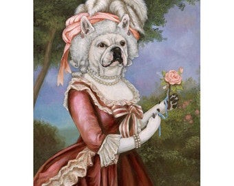 French Bulldog Prints, Marie Antoinette, Frenchie, Dog Gift for Her