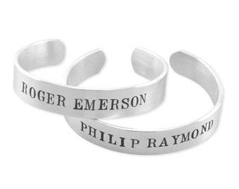 Cuff Bracelet for boys, hand stamped sterling silver, bracelets, baby boy gift twins birthday dedication shower,baptism, godson WILLIAM