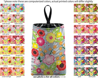 Auto Trash - Floral Burst - PICK YOUR COLOR - Car Trash Bag Car Accessory Automobile Caddy Trash Bin Garbage Floral Custom