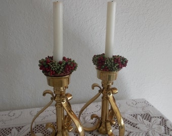 Regency Brass Candle Holders Mid Century candle stick holders