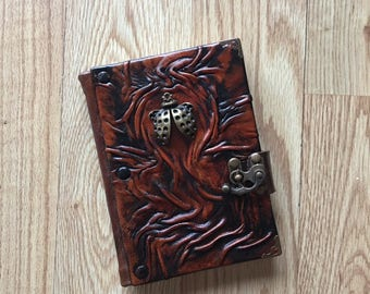Steampunk Journal, Leather Journal, Leather Notebook, Sketchbook, Leather Diary, Rustic Journal, Ladybug Journal, Gift Idea