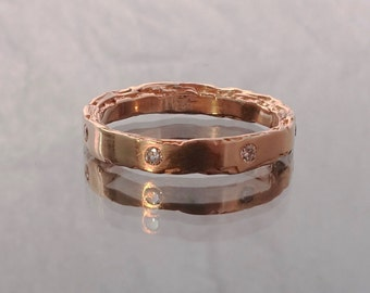 3mm 14kt Rose Gold Rough Edge Band with 7 diamonds